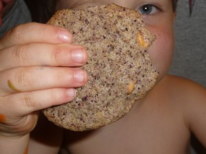 Our 4-year-old with grainy-looking chocolate cookie.